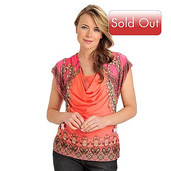 712-024 - One World Micro Jersey Flutter Sleeved Inset Drape Neck Printed Top