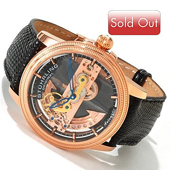 Stuhrling Original Men's Limited Edition Bridge Automatic Diamond Rotor Lizard Strap Watch