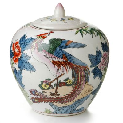 Hand-Painted Ceramic Peacock Jar $ 25.00
