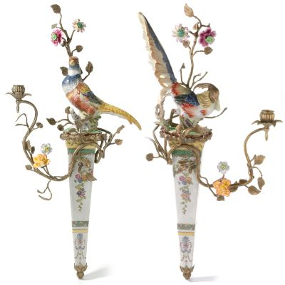 Hand-Painted Bird & Floral Porcelain & Brass Candle Holder Wall Sconce $ 262.50