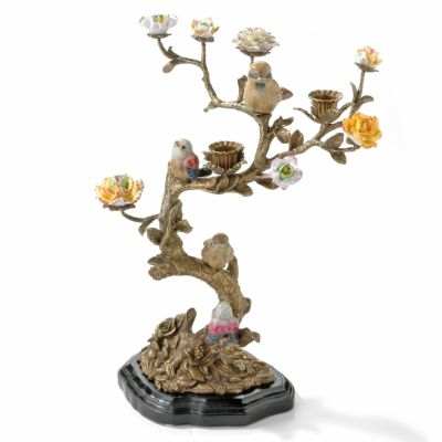 Hand-Painted Bird & Wood Porcelain & Brass Candle Holder $ 196.00