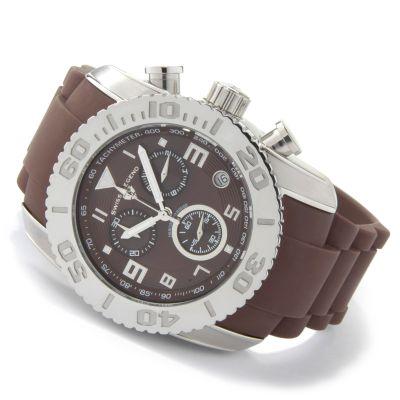 Swiss Legend Men's Commander Quartz Chronograph Rubber Strap Watch SILVERTONE