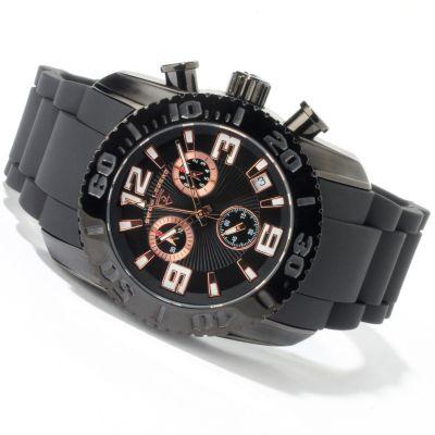 Swiss Legend Men's Commander Swiss Chronograph Rubber Strap Watch ROSETONE