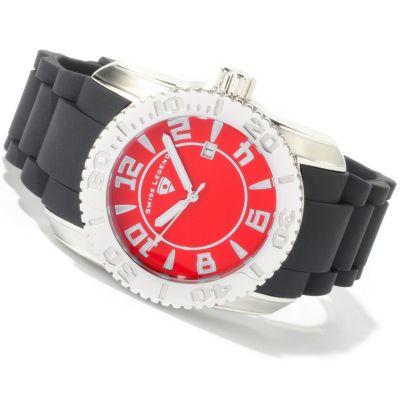 Swiss Legend Men's Commander Swiss Quartz Rubber Strap Watch RED